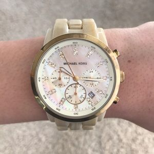 Michael Kors cream and gold watch